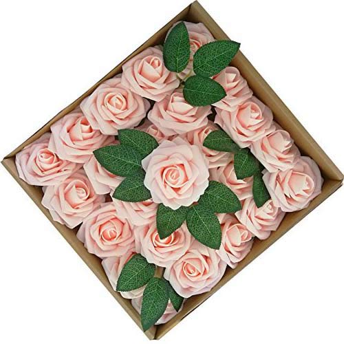 4998f558e0f Jing-Rise Artificial Flowers Fake Roses 50PCS Artificial Roses for DIY Wedding  Bridal Bridesmaids Bouquets