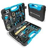 WZG Werkzeug - Juego de 60 herramientas para el hogar con caja de almacenamiento de plástico, incluye enchufe, destornilladores, martillo, llave ajustable y alicates