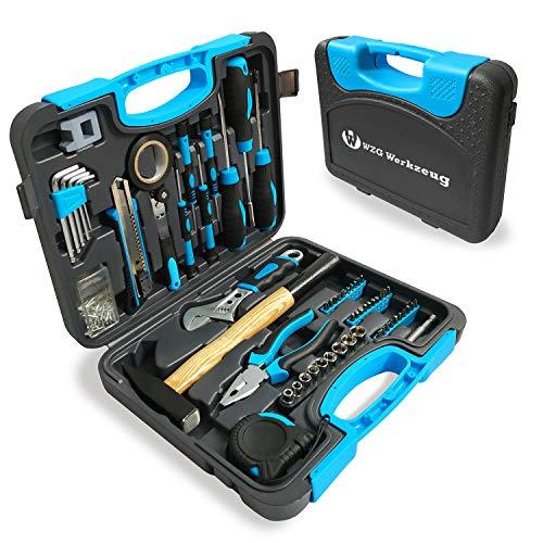 WZG Werkzeug - Juego de 60 herramientas para el hogar con ca