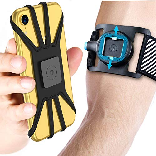 Quick Mount Phone Armband for iPhone 11 Pro Max/Xs Max/XS/XR/X/8 plus/8/7 Plus, for Samsung Galaxy S10 Plus/S10/S10e/Note 9/Note 8, Detachable Workout Sports Arm Band, Phone Holder for Running Hiking