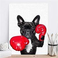 北欧スタイルのボクシング犬のキャンバスHDプリント絵画ポスター面白い漫画動物の壁アート写真子供部屋の装飾-50x70cmフレームなし