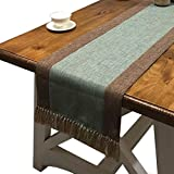 PHNAM Table Runner with Tassels Linen Cotton Long Green and Brown...