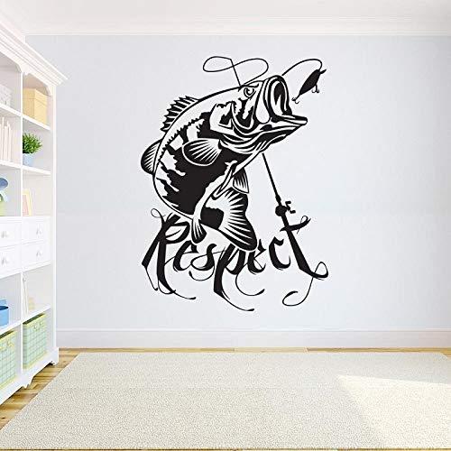 wopiaol Wohnkultur Vinyl Aufkleber Angeln Wandtattoo Kinderzimmer Bass Fisch Aufkleber Angeln Aufkleber Innentapete 57x77cm