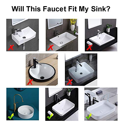 Wovier Brushed Nickel Waterfall Bathroom Sink Faucet with Supply Hose,Single Handle Single Hole Vessel Lavatory Faucet,Slanted Body Basin Mixer Tap Tall Body Commercial