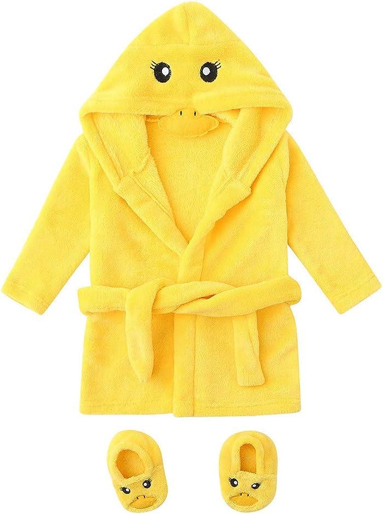 Infant Baby Flannel Bathrobes, Unisex Toddler Towel Robe Hooded Pajama Sleepwear