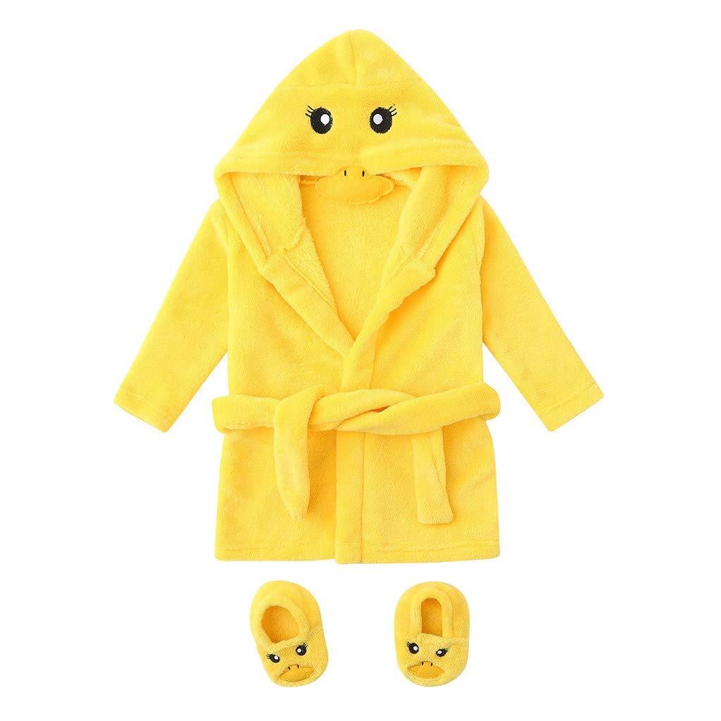 Peignoirs de Bain à Capuche Bébé Garçon Fille - Sunenjoy Robe de Chambre Flanelle 3D Animal Mignon Déguisement Pyjamas Vêtement de Nuit + Chaussures Tenues Doux Éponge