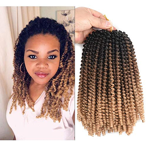 Ombre Spring Twist Hair 8Inch Crochet Braids Short Curly Synthetic Braiding Hair Extensions Low Temperature Fiber 30Strands /pack 3packs sale (Black/Brown/Light Brown)