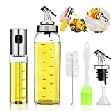 Oil Bottle Olive Oil Dispenser Oil Sprayer Set for Cooking 17OZ Lead-Free Glass Bottle for Oil Drip Free Spout Bottle Stainless Steel BBQ, Salad, Kitchen Baking, Roasting, Frying