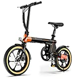 Macwheel 16' Electric Folding Bike, 7.5Ah Lithium-ion Battery, Top Speed 15.5mph, Dual Disc Brakes, Electric Commuter Bicycle for People Aged 14 to 65 (LNE-16)