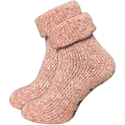 ca·wa·so Damen Stoppersocken aus Wolle | ABS Sohle (1er-Pack | 4er-Pack) (35-38, rosa | 1er-Pack)