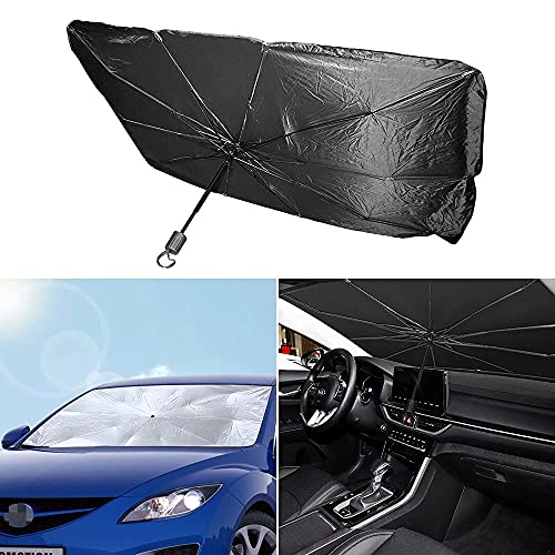 MARCHFA Parasol de coche apto para pasajeros, coche, sedán, camioneta, SUV, minivan, RV y furgoneta, parabrisas delantero, protección UV, plegable, 1 unidad