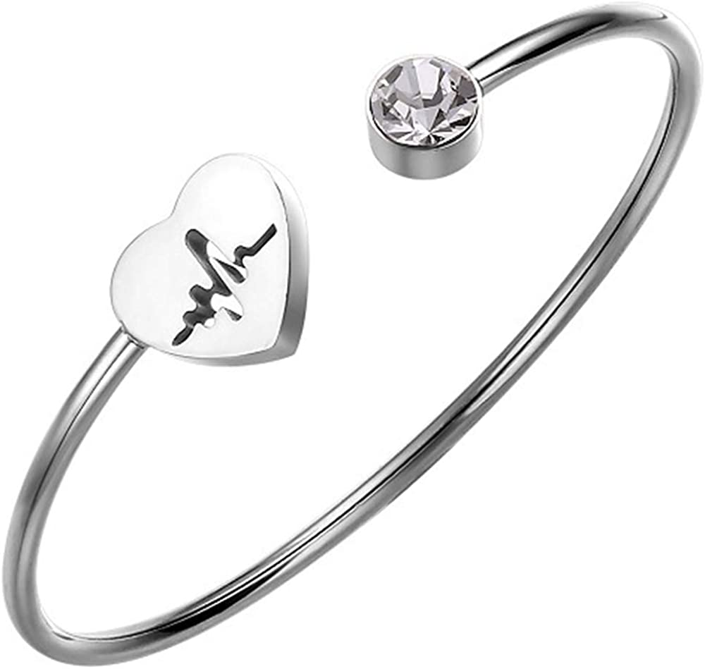Jude Jewelers Stainless Steel Heart Shaped Open Cuff Statement Promise Anniversary Valentine Gift Bangle Bracelet