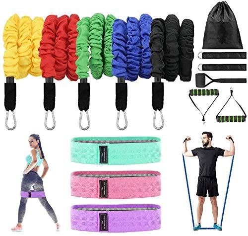 Bandas de entrenamiento con 5 bandas de ejercicio apilables, 3 niveles antideslizantes.