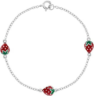 """925 Sterling Silver Cute Red Strawberries Bracelet for Girls and Toddlers 6"""""""
