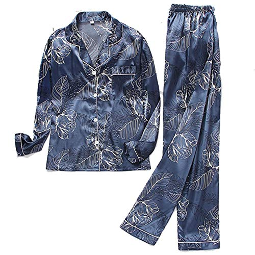 Damen Nachtwäsche Button Turn-Down Kragen Satin Pyjamas Set Langarm Hose Pyjama Button-Down Printing Nachtwäsche