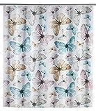 WENKO Duschvorhang Butterfly - wasserdicht, leicht zu pflegen, Polyethylen-Vinylacetat, 180 x 200 cm, Mehrfarbig
