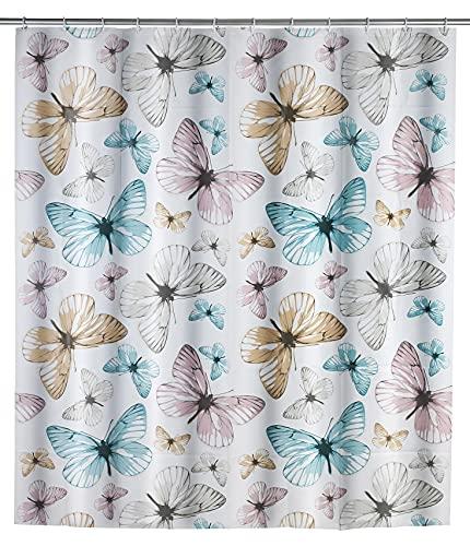 WENKO Duschvorhang Butterfly - wasserdicht, pflegeleicht, Polyethylen-Vinylacetat, 180 x 200 cm, Mehrfarbig