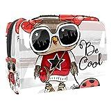 Kit de Maquillaje Neceser Owl Ladybug Make Up Bolso de Cosméticos Portable Organizador Maletín para Maquillaje Maleta de Makeup Profesional 18.5x7.5x13cm