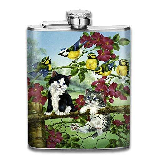Petaca de acero inoxidable 304 con diseño de flores y pájaros, a prueba de fugas, con caja de regalo para exteriores