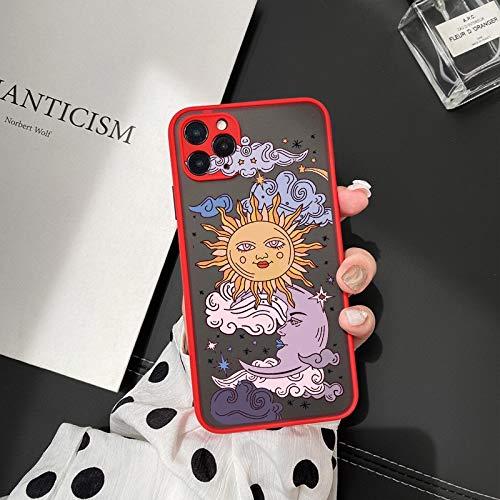 HNZZ Tmrtcgy Jamular Funny Sun Moon Cara Funda a Prueba de Golpes a Prueba de Golpes para iPhone 11 Pro 12 7 XS MAX X XR 8 Plus TPU Suave Tapa Mate (Color : Style 5, Size : Iphone12 Pro MAX)