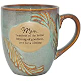 Mom Mug 16 oz. Ceramic Coffee Mugs Cups- Whispering Wings, Features 'Mom... Heartbeat of The Home, Blessing of Goodness, Love For a Lifetime' Best Mothers Day Gift