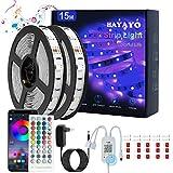 HAYAYO Tira LED 15m, Tira LED RGB 5050 con Control Remote, Luz LED Bluetooth APP controlada Music Sync, Luces LED iluminacion para Decoracion Habitacion Partido
