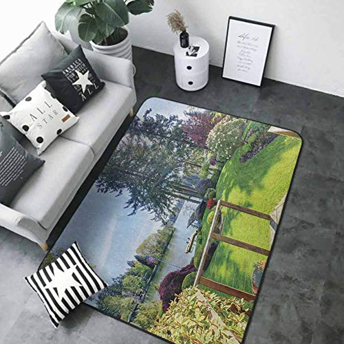 Bedroom Living Room Area Rug Nature,Sunny Spring Season Day Pier View in Countryside Rural Cottage Theme Nature Image, Multicolor 84 x 60 in Silky Smooth Bedroom Mats