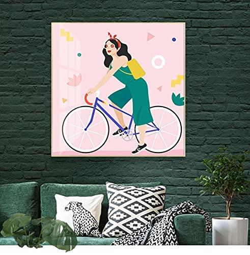 Figura Bicicleta Cuadros De Arte De Pared Pintura De Lienzo De Dibujos Animados Poster Abstractos Impresiones Salon De Estar Dormitorio Decoracion De Pared para El Hogar Cuadros 70x70cm Sin Marco