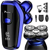 Electric Shavers for Men, Paitree Electric Razor Bald Head Whole Body Waterproof with Rotary Sharp Shaver Head, Hair Clippers, Nose Hair/Sideburn Trimmer, 5 in 1 Beard Grooming Kit - Blue