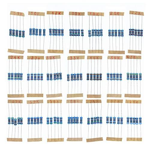 HUABAN 5PCS 21 Values 1W 1 Watts 10K 12K 15K 18K 20K 22K 24K 27K 30K 33K 36K 39K 43K 47K 51K 56K 62K 68K 75K 82K 91K Ohm 1% Metal Film Resistor