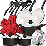 dealz frenzy 21-Piece Soft Grip Absolutely Healthy Ceramic Non-Stick Cookware Set with Stay Cool Silicone Handles,Oven&Dishwasher Safe,Pots and Pans Set,Scratch Resistance,Metal Grey,Father's Day Gift