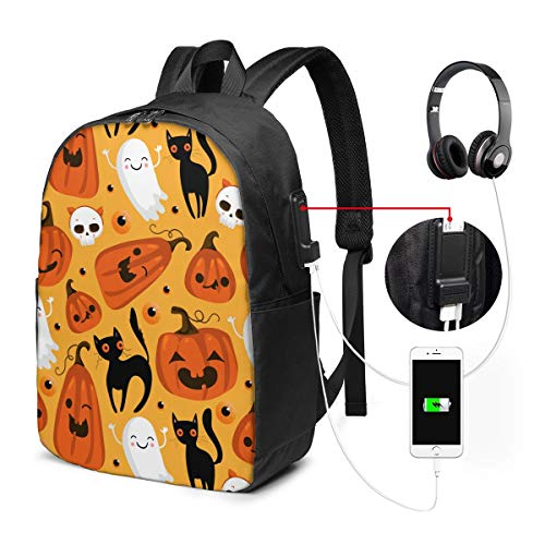 Halloween Cat Laptop Backpack, Business Travel Work Laptop Bag with USB Charging Port, Waterproof Backpack for Girls Men Women, Anti-Theft College School Gift Backpack