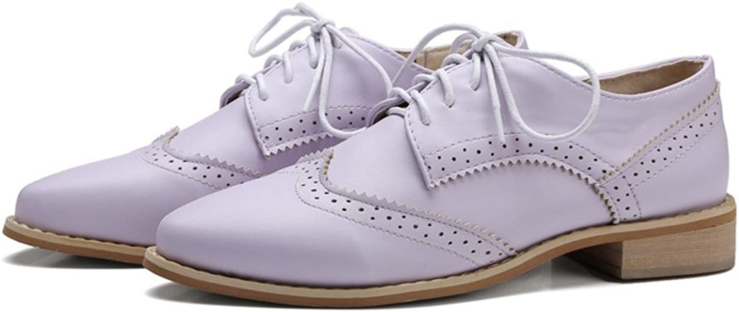 T-JULY Women's Vintage Oxfords shoes - Comfy Lace-up Brogue Perforated Pointed Toe Casual shoes