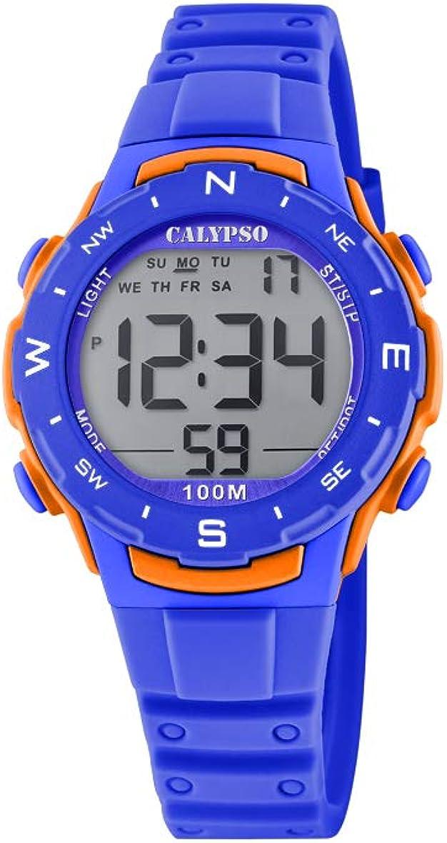 CALYPSO Reloj Modelo K5801/3 de la colección Crush, Caja de 35 mm Digital con Correa de plástico Azul eléctrico para cadete