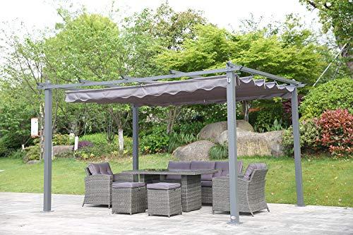 Angel Living® Pérgola de Aluminio con Techo Retráctil, Cenador con Tela de Poliéster Resistente al Agua y a UV, Uso para el Exterior (3X4m Gris)