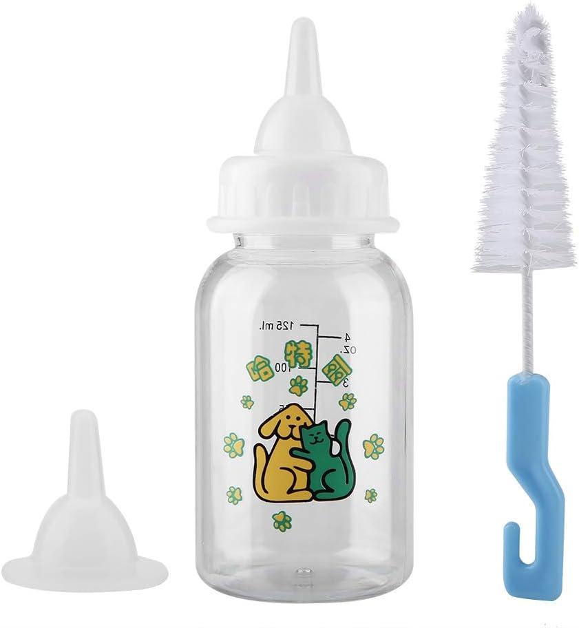 Botella de lactancia para mascotas, botella de leche de 125 ml, alimentador de animales para recién nacidos, pezón para mascotas, conjunto de botella de lactancia especial para gatitos, cachorros, ani