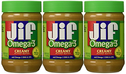 Jif Omega3 Creamy Peanut Butter 16 Ounce Pack of 3