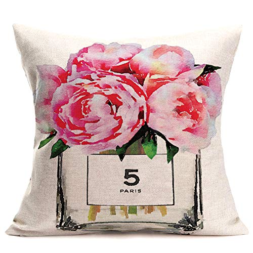 """Fukeen Pink Rose Flower Throw Pillow Cushion Cover Modern French Paris Perfume Bottle with Watercolor Floral Bloom Decorative Pillow Cases Home Office Living Room Decor Cotton Linen Pillowslip 18""""x18"""""""