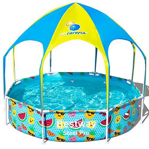 Bestway Steel Pro UV Careful zwembad met stalen frame, zonder pomp met zonnedak, Splash-in-Shade, 244 x 51 cm zwembad, multi