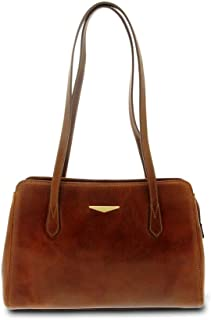 GIUDI ® - Borsa Donna classica in pelle vacchetta, vera pelle, borsa tracolla, Made in Italy. (Marrone)
