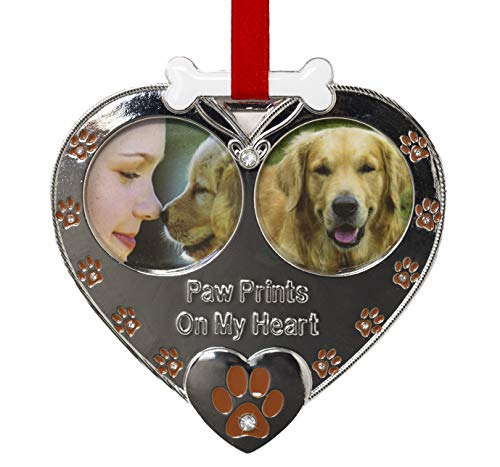 Dog Photo Christmas Ornament - Double Picture Pet Ornament - Paw Prints on My Heart Ornament - Dog Memorial Ornament