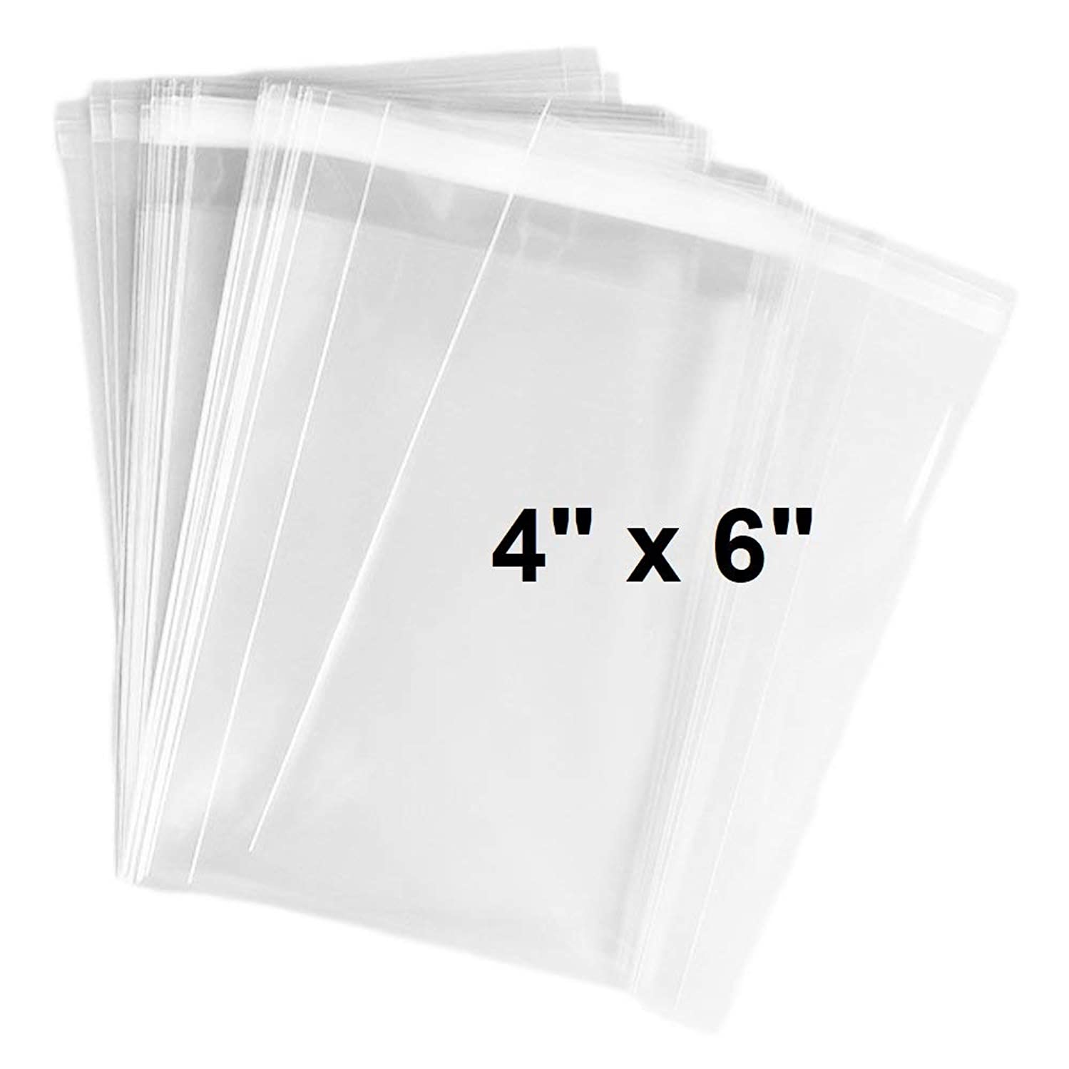 888 Display USA 100ct Clear Plastic Bags 4x6-2 mils Thick Self Sealing OPP Cello Bags for Bakery Cookies Decorative Wrappers (4'' x 6'')
