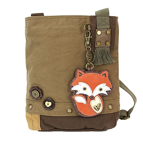 Chala Patch Cross-Body Women Handbag, Olive Canvas Messenger Bag - Chala Fox