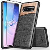 Galaxy S10+ Plus Case with Full Coverage Screen Protector 3D PET, NageBee Premium Natural Wood Canvas Fabrics Heavy Duty Shockproof Hybrid Defender Durable Case for Samsung Galaxy S10+/S10 Plus -Wood