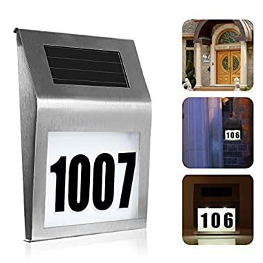 SOONHUA Solar Lighted Address Sign House Number, Decorative Plaque Door Number Apartment Number Outdoor Lighting Doorplate LED Solar Lamp