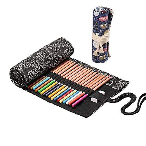 2 Rotoli Tela Matita Wrap, Tela Matite Cassa di Matita Astuccio, Roll Up Pencil Pouch, artisti astuccio arrotolabile, colorato Sacchetto della matita, per artisti, studenti, pittori 24 fori+ 36 fori