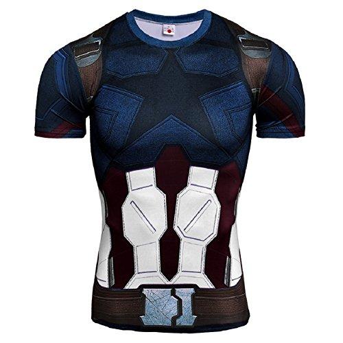 Cosfunmax Superhero Capitán Playera de compresión y Pantalones Deportes Gimnasio Running Base Capa Entrenamiento Spats Medias - - Medium