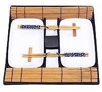 exzact ex-sg stile orientale 10 pezzi set di sushi - 2 x piatti di sushi di, 2 x vassoi di tuffo di, 2 x matite di bambù di sushi di bambù, 2 x bastoncini di bambù, 2 x paia di bacchette