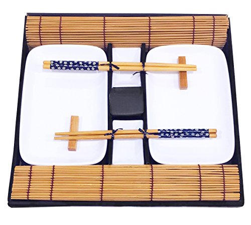 Exzact 10 pcs Sushi Set - 2 x Sushi Plates, 2 x Dip Bowls, 2 x Bamboo Placemats, 2 x Bamboo Chopsticks Rests, 2 Pairs of Chopsticks – Highquality Porcelain – Beautifully Presented in Gift Box