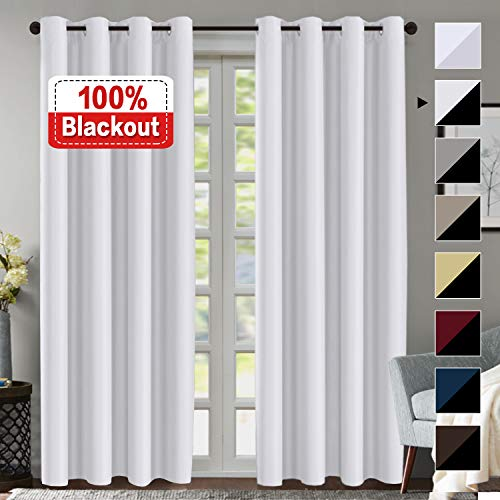 Flamingo P 100% Blackout Curtain Set, Thermal Insulated Energy Efficiency Window Drapery, Lined Silky Performance, White Color, Grommet, Set of 2 Panels, 52 x 84